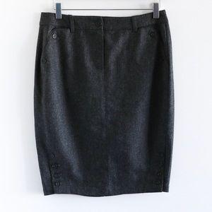 Alain Manoukian designer wool pencil skirt buttons